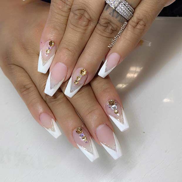 41 Elegant Nail Designs With Rhinestones Page 4 Of 4 Stayglam White Tip Nails Nails Design With Rhinestones Elegant Nail Designs