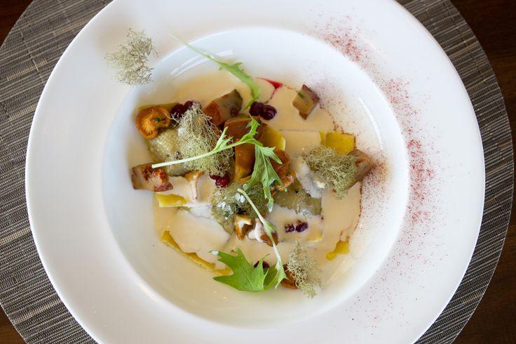 wild rabbit agnolotti - foraged mushrooms, caribou moss, wild cranberry + matsutake cream from the Taste 60th Parallel tasting menu at #Canoe #Toronto #Restaurant
