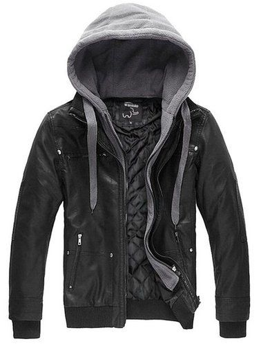 Wantdo Men's Pu Leather Jackets With Hoodies For Men