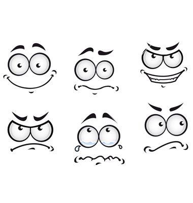 Cartoon comics faces set vector