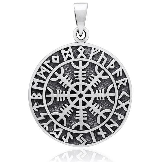925 Sterling Silver Aegishjalmur Viking Helm of Awe Runes Pendant