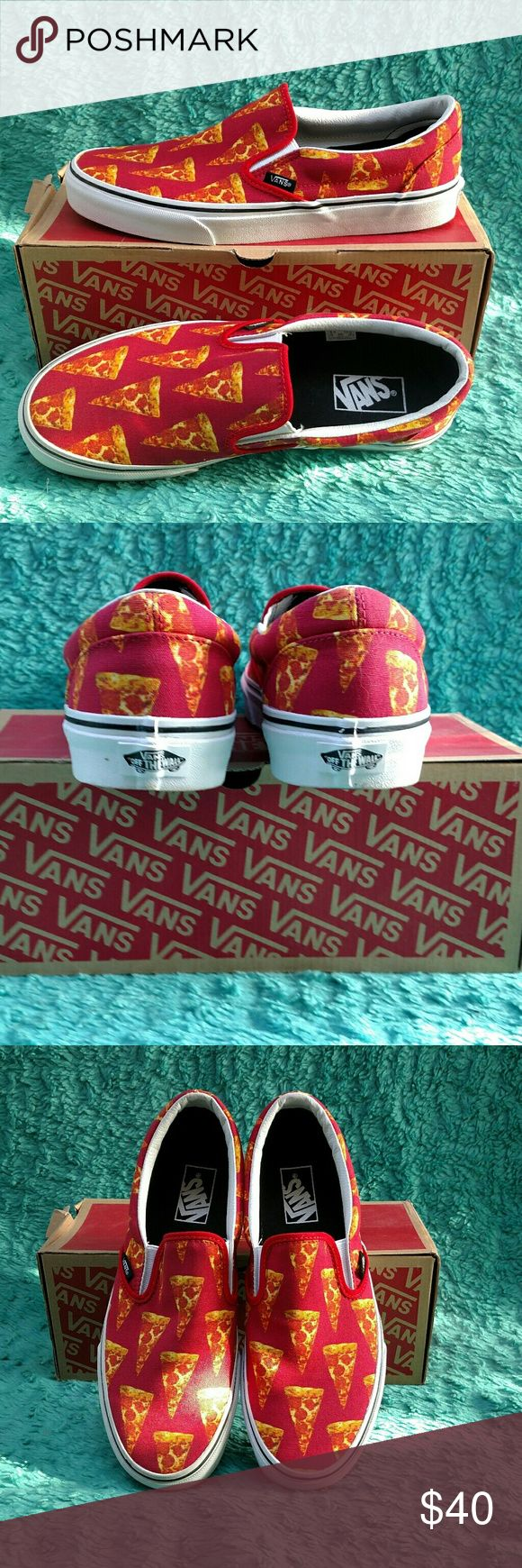 Pizza Vans slip-ons NIB Men's 8.5 Women's 10-10.5 These are brand new NEVER worn in box Vans Pizza Slip-ons. Fit is more like a 10.5 for women.  These sell new for $55 and they are out of stock. Vans Shoes Sneakers