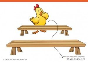Bewegingskaarten kip voor kleuters 19, Over de bank heen, onder de bank door , kleuteridee.nl , thema Lente, Movementcards for preschool, f...