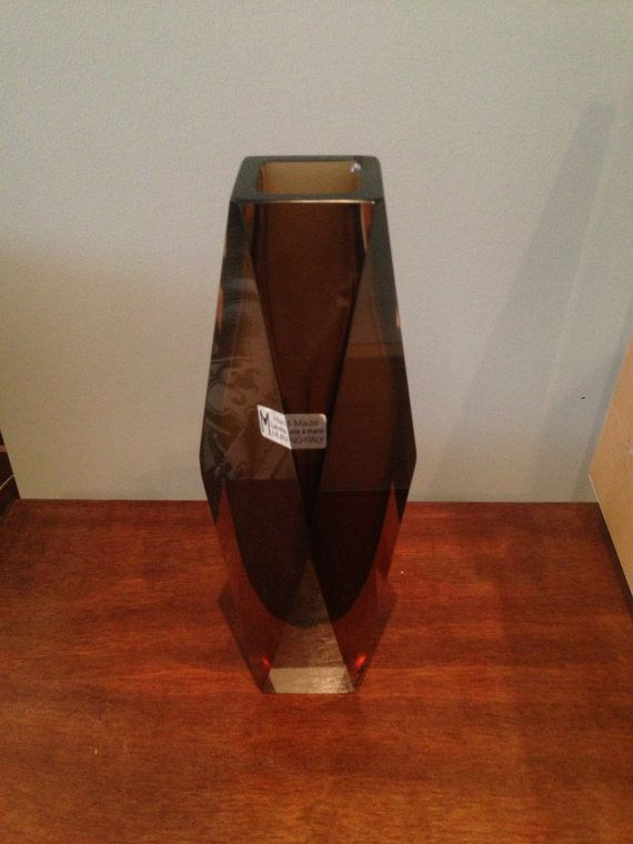 MURANO vintage vaas Smoke bruin FACET ondertekend gesneden Cased Crystal kunst glasvaas