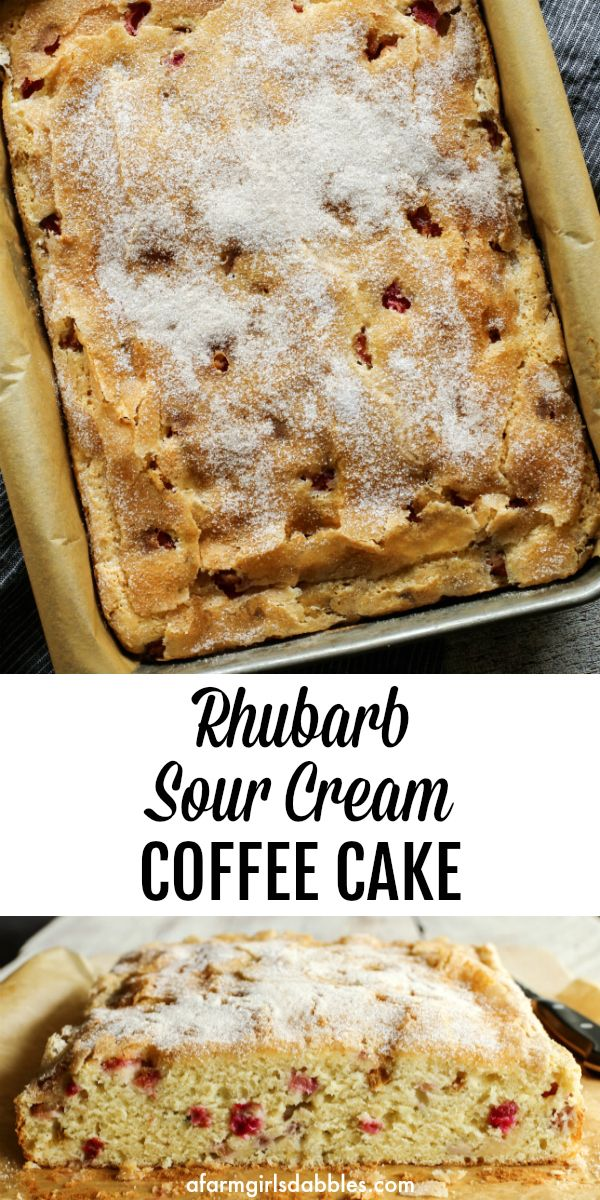 Rhubarb Sour Cream Coffee Cake Recipe In 2020 Rhubarb Coffee Cakes Sour Cream Coffee Cake Coffee Cake