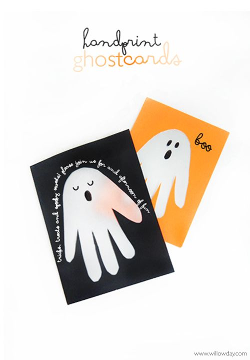 Hake Ghost Handprint Cards | willowday -- an updated classic