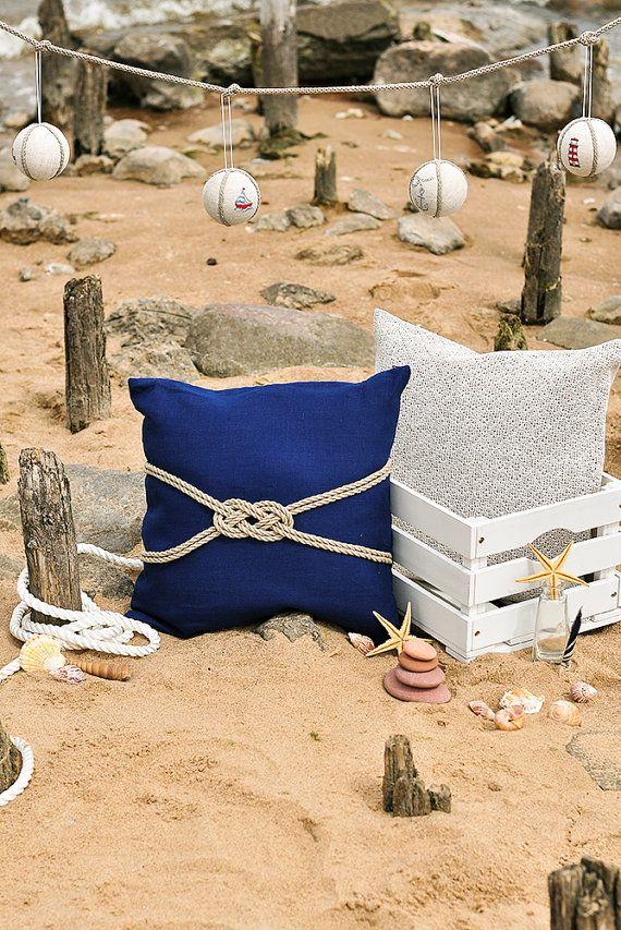 Linen Pillow Case Deep Blue Cover Nautical Cushion Beach Decor