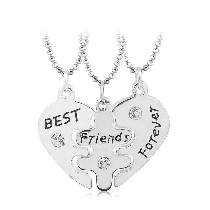 Lovers Collier Bff Aussage Halskette 3 stücke Beste Freunde Für Immer Halsketten Colar Freundschaft Herz Charme Hängig Geschenk für Mädchen
