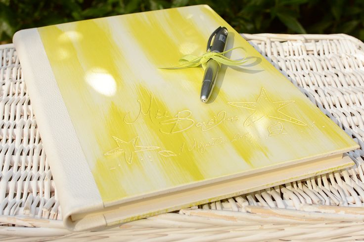 Your summer conceptual design engraved on your wooden personalized guest book…