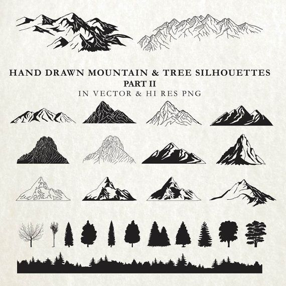 Hand Drawn Mountain Clipart - Mountain Cartography Nature Rustic Tree Silhouette Clipart Clip art PNG Vector EPS AI Design Elements Download