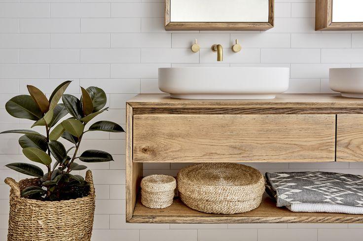 Loughlin Furniture Baster two draw timber vanity. Brass Tapware. Styled by Kyal & Kara.