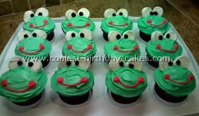 "Frog cupcakes. You could also have cucumbers, green grapes, kiwi's, and ""green"" lemonade garnished with limes, and a green salad, to go along with the frog theme."