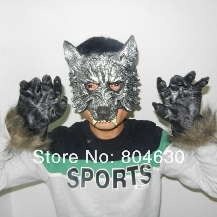 Scary Wolf Costume Pu Wolf Mask & Claw Set Halloween Party Masks latex Animal Mask carnival prop supper Horror free shipping