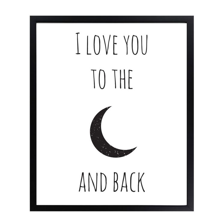 Poster - I Love You To The Moon And Back - Zwart Wit Poster van DesignClaud | Markita.nl