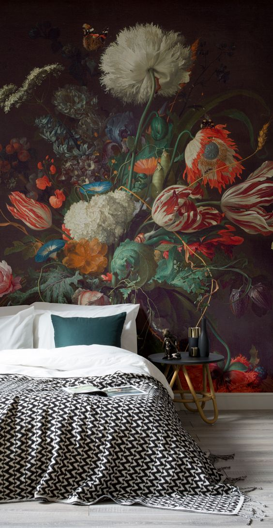 How to achieve the dark wall look with ease! This art wallpaper mural showcases de Heem's Vase of Flowers, giving your home a touch of art history as well as elegance. Pair with dark textiles and glimmers of gold for a truly decadent feel.