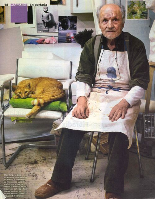 Antonio Lopez and his ginger cat in his studio