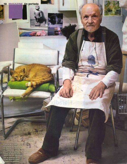 Antonio Lopez and his ginger cat in his studio
