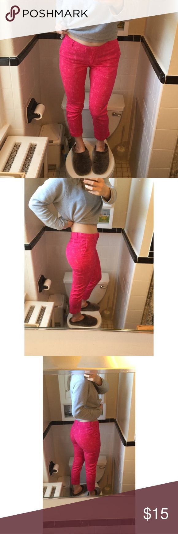 """HAWT PINK YAAAAS KWEEN H&M PANTS These are super flattering (aka gr8 booty) slacks, but they're way too bright for me. Make an offer or whateva. I need $$ to buy a full length mirror because this setup is just depressing.   (Exaggerated """"I swear I have a thigh gap"""" IG pose/cozy slippies not included.) H&M Pants"""