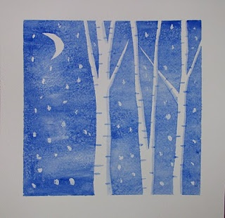 Winter Art. Painters tape and watercolor. Thinking about negative space.