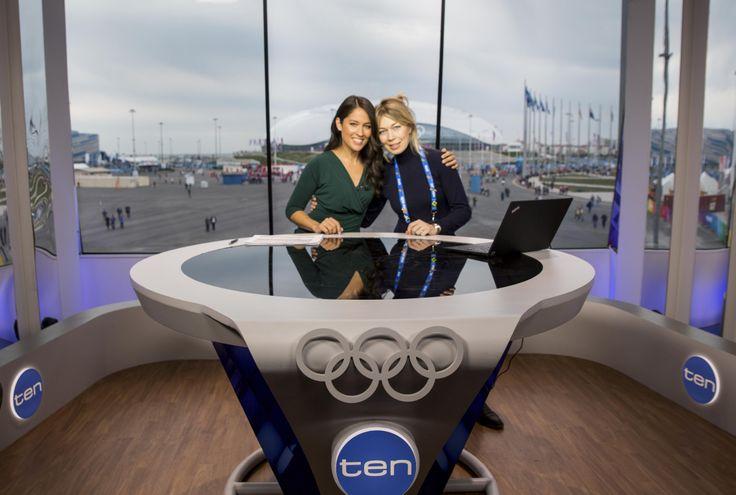 Mel McLaughlin and Victoria Carwin at Sochi Olympic Park Studio
