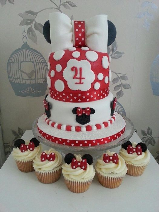 Minnie mouse cake  cupcakes love this but as a Mickey version