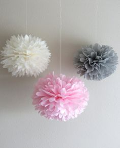 Pink, gray, and white poms