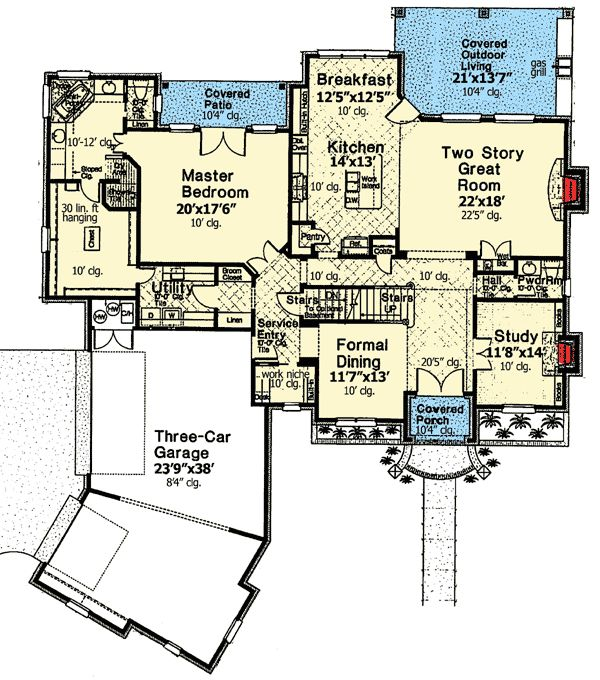 House plans with laundry room near master for Laundry room floor plan example