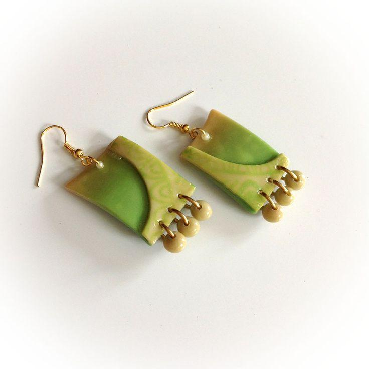 Boucles d'oreille, dégradé de vert, vert anis, rectangles, sérigraphie : Boucles d'oreille par agape