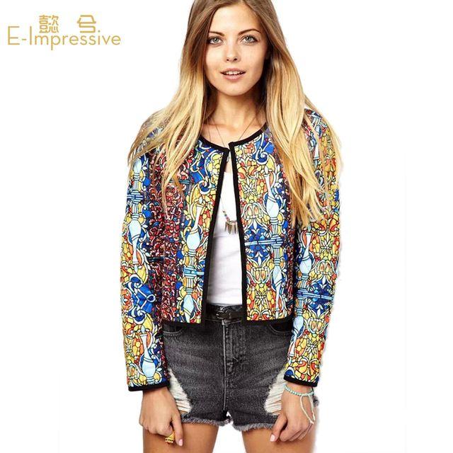 2015 autunno inverno retro stampa floreale etnico giacche per le donne dell'annata autunno manicotto lungo delle donne casuali giacca jaquetas cappotto sl