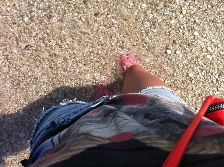 Taking our Havaianas for a stroll on the beach in Nissaki, Corfu. Top by All Saints!