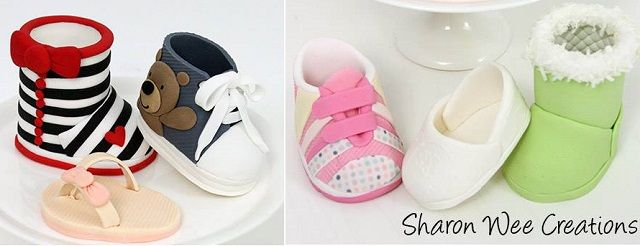 Cake Decorations Baby Shoes : baby shoes tutorial by Sharon Wee Creations Cake Ideas ...