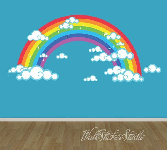 Rainbow Wall Decal, REUSABLE FABRIC DECAL, Rainbow with Clouds Wall Sticker Decals, Girls Wall Decal