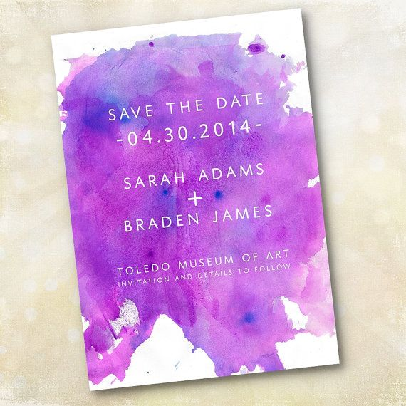Wedding Invitation or Save the Date - Modern Purple Watercolor - Design Fee via Etsy