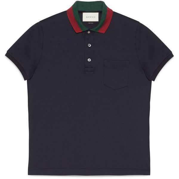 Gucci Cotton Polo With Web Collar ($425) via Polyvore featuring men's fashion, men's clothing, men's shirts, men's polos, ink blue, mens blue polo shirts, mens polo shirts, men's cotton polo shirts, gucci mens shirts and mens button down collar shirts