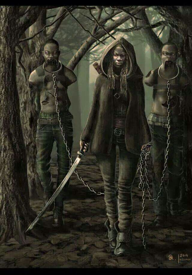Michonne and Her Zombie Pets - The Walking Dead