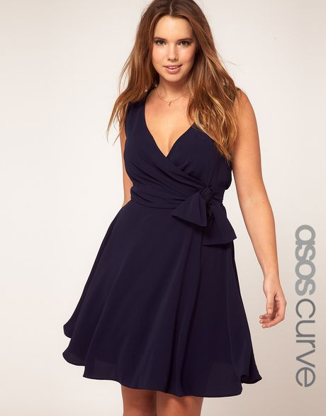 Curve Wrap Dress With Bow Detail - Lyst