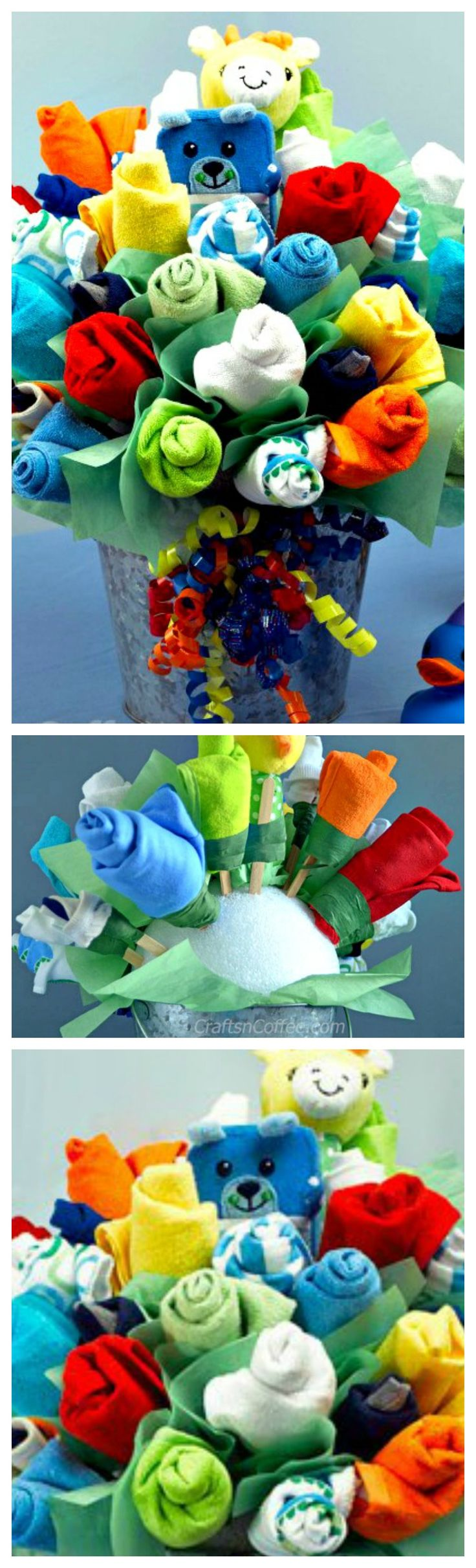 How To Make An Adorable Baby Bouquet ~ It's packed with little goodies every baby needs – bibs, washcloths, socks and onesies and two soft rattles... Is there a mom-to-be who wouldn't love this Baby Bouquet? I think not!