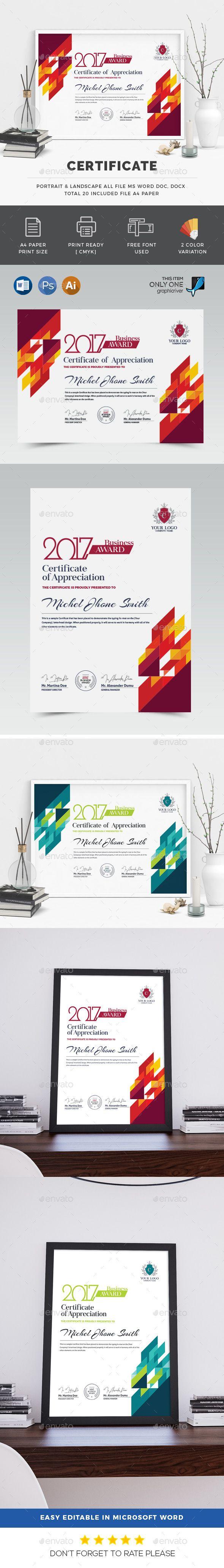 Certificate Template PSD, AI Illustrator, MS Word