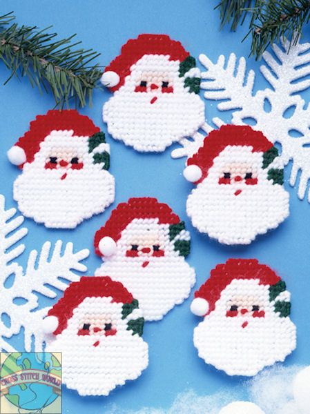 Santa Faces Ornaments Plastic Canvas