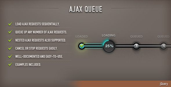AJAX Queue (jQuery) . Sequentially queue multiple AJAX requests with options for canceling/stopping and nesting of requests. Most of the AJAX parameters can be specified globally or individually for each AJAX