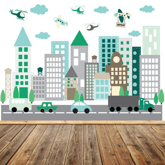 Boys Room City Wall Decal { Decal Kit Includes } *buildings *cars *trucks *airplanes *helicopters *clouds *trees *Road *custom name *step by