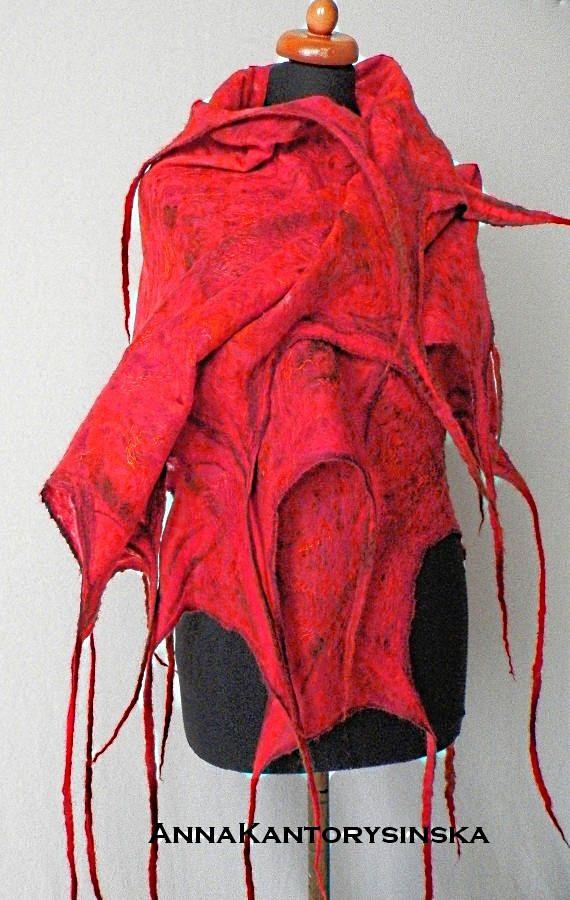 Gevilte sjaal-omslagdoek rood kunst tot slijtage met rode