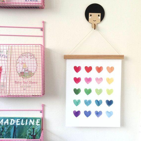 Watercolour Hearts Rainbow Art Print Giclee Art Print Fine