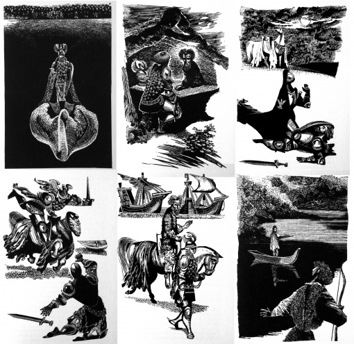 PARSIVAL – LOHENGRIN, written by GERHART HAUPTMANN - llustrations JIRI TRNKA.Scraperboard