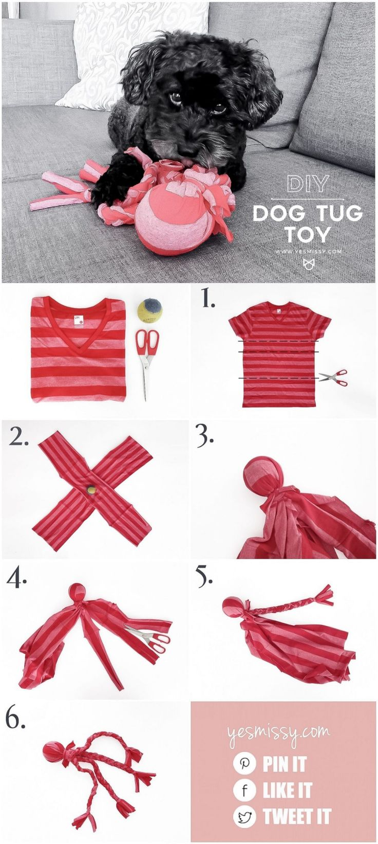 DIY Dog Toy - Your Dog Will Love this Easy to Make Tug Toy - YesMissy Diy Dog Toys, Cat Toys, Toy Diy, Diy Animal Toys, Diy Toys Easy, Cute Dog Toys, Homemade Dog Toys, Diy Pour Chien, Toy Puppies