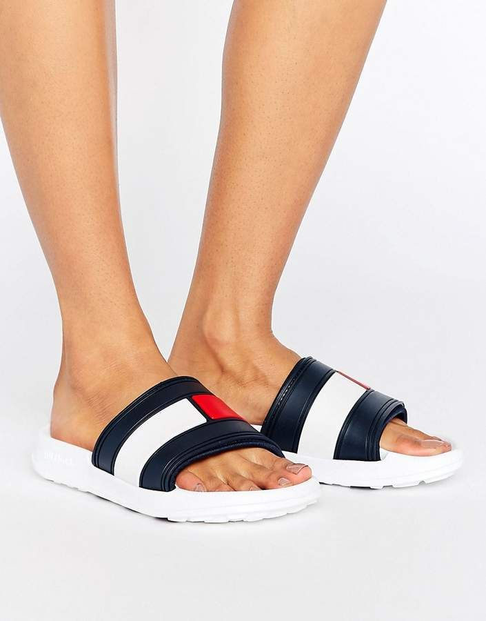 e45f6bb61 Tommy Hilfiger Flag Slider Sandals. tommy hilfeger flip flops for womens