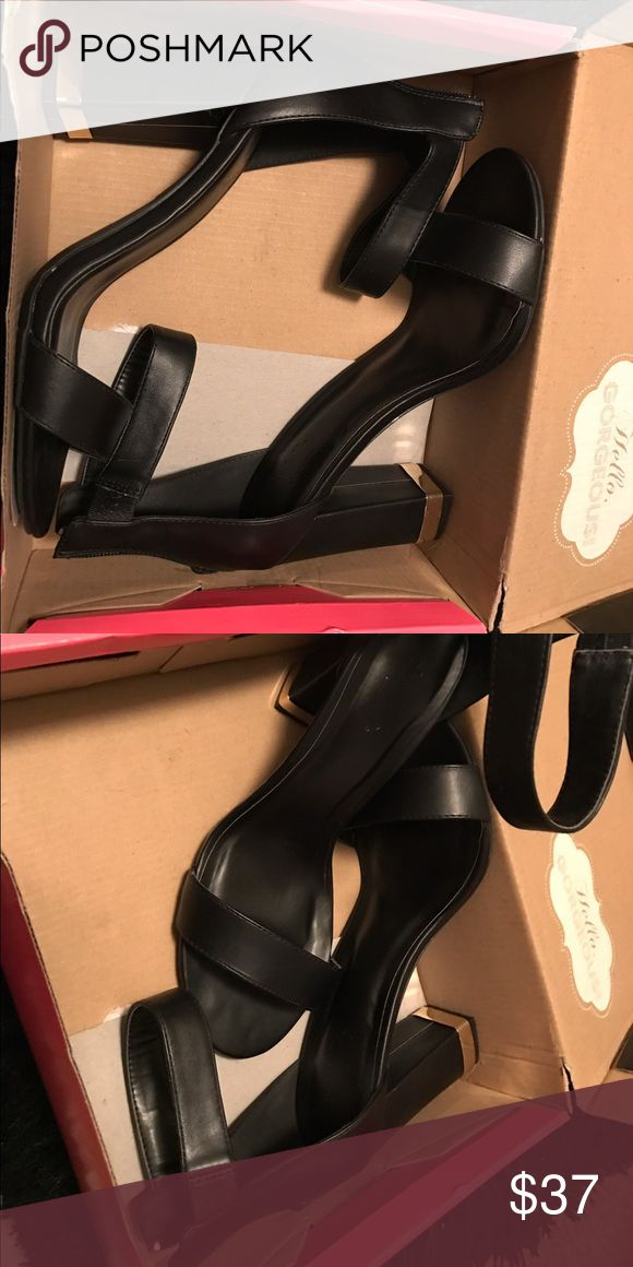 Charlotte Rouse Black & Gold sandal heel Black and gold heels worn once for a photo shoot nice & Comfy Charlotte Russe Shoes Heels