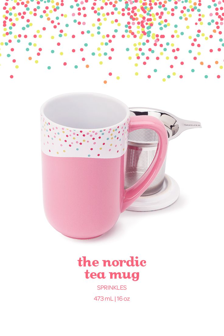 With its pink sprinkle design, this infuser mug looks good enough to eat. I want want want