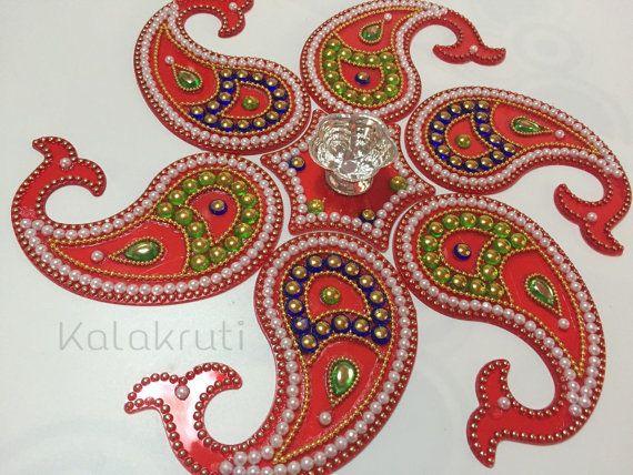 Diwali Acrylic Indian Rangoli with votive holder by Kalakruti