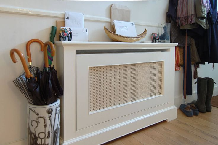 Radiator cabinet with cane